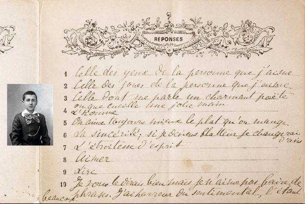En médaillon, Marcel Proust vu par Nadar, le 1er janvier 1887. L'année où il a répondu à ce questionnaire. « Mon occupation préférée ? Aimer. »