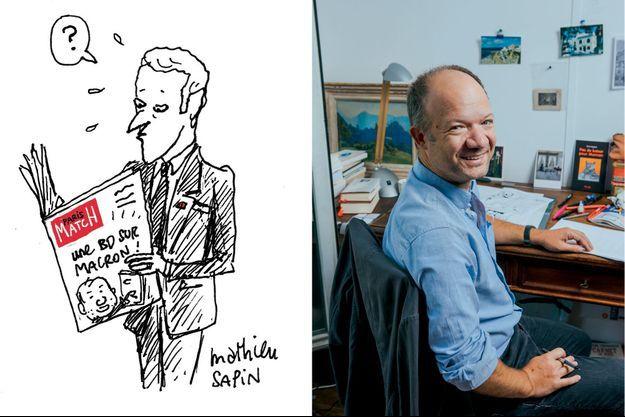 Pour Paris Match, un dessin de Mathieu Sapin, à droite.