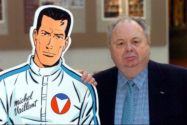 Jean Graton aux côtés de son héros Michel Vaillant.