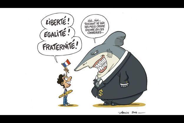 Georges Abelin imagine le citoyen français face au requin de la finance.