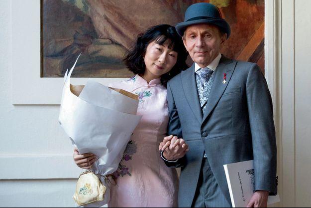 Michel Houellebecq et sa nouvelle épouse Qianyum Lysis Li le 22 septembre 2018.