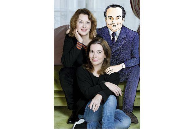Anne Goscinny, au centre, et la dessinatrice Catel qui, pour nous, a convié le grand René sur la photo.