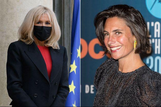 Brigitte Macron ici en octobre dernier à l'Elysée et Alessandra Sublet au Festival de l'Alpe d'Huez en janvier 2020.