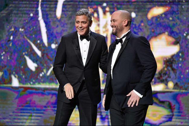 George Clooney et Jerôme Commandeur lors de la 42e cérémonie des César.