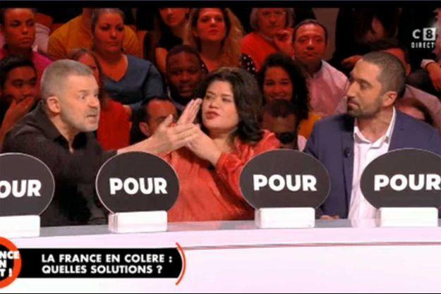 """Eric Naulleau, Raquel Garrido et Jimmy Mohamed sur le plateau de """"Balance ton post"""" jeudi sur C8."""