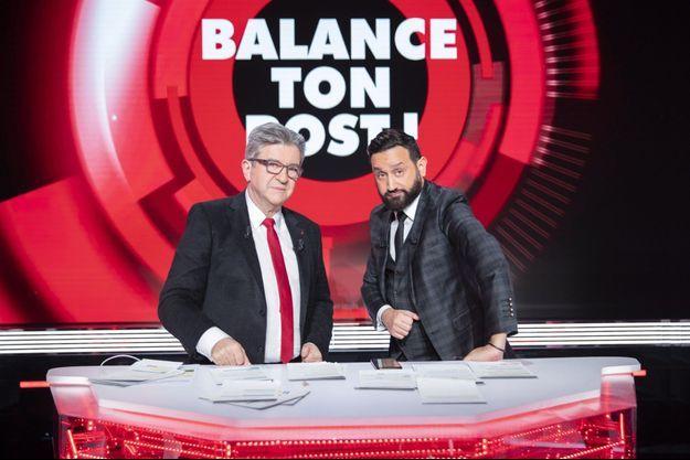 """Jean-Luc Mélenchon et Cyril Hanouna sur le plateau de """"Balance ton post"""", jeudi 11 février."""