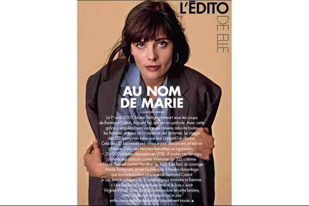 Le magazine Elle a rendu hommage à Marie Trintignant dans son éditorial.