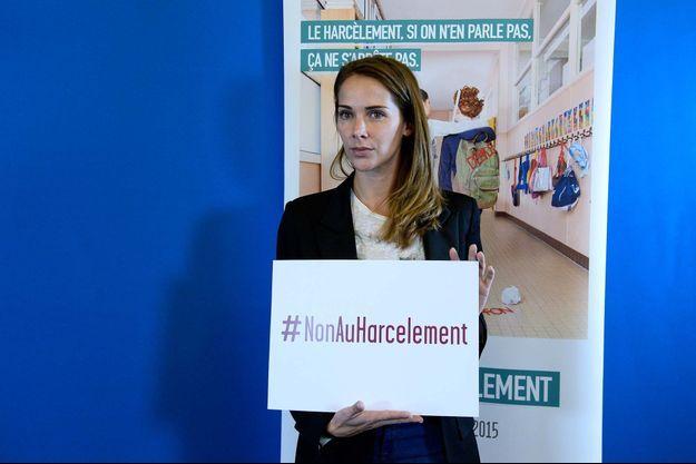 """Mélissa Theuriau à la présentation de la première journée nationale """"Non au harcèlement"""" le 29 octobre."""