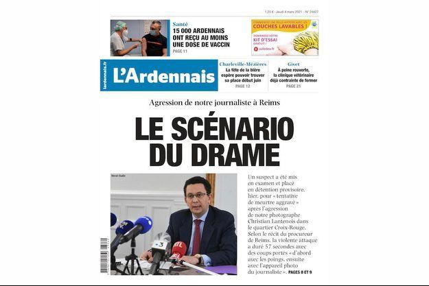 """La une de """"l'Ardennais"""" consacrée au drame."""
