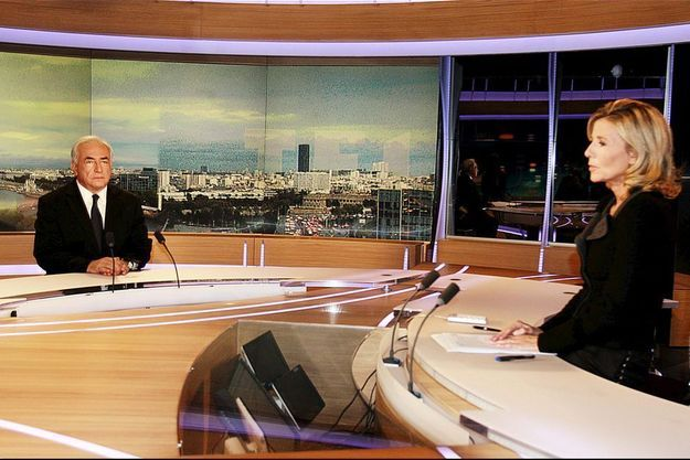 DSK sur le plateau du JT de Claire Chazal, le 18 septembre 2011.