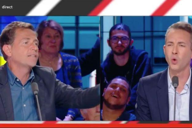 """Daniel Riolo et Ian Brossat dans """"Les Grandes gueules"""" sur RMC."""