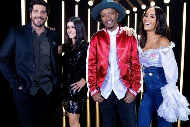 """Patrick Fiori, Jenifer, Soprano et Amel Bent, jury de la saison 6 de """"The Voice Kids""""."""