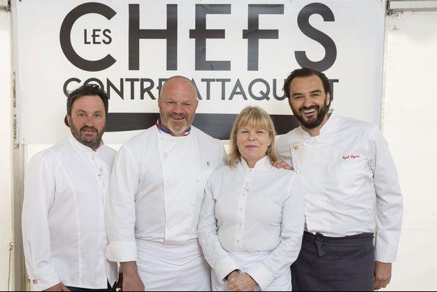 Yves Camdeborde, Philippe Etchebest, Ghislaine Arabian et Cyril Lignac.