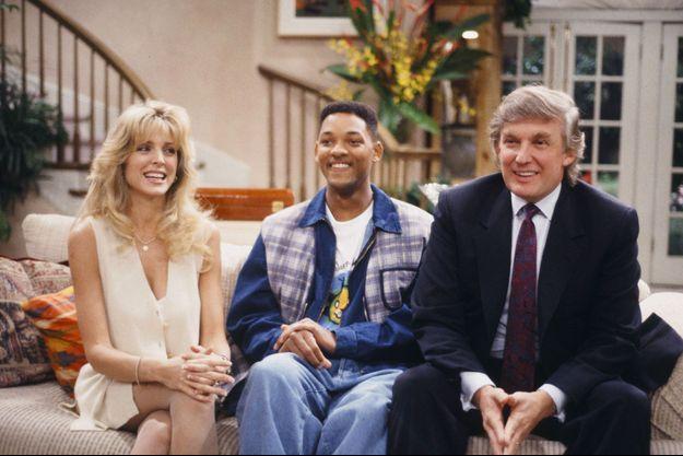 """Marla Maples, Will Smith et Donald Trump sur le plateau du """"Prince de Bel Air"""" en 1994."""