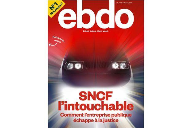 """La Une du premier numéro de """"Ebdo"""", en kiosques à partir de vendredi."""