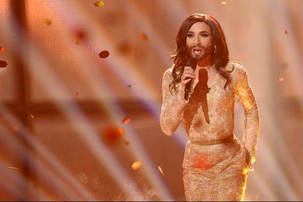 Conchita Wurst, lors de la finale de l'Eurovision en 2014.