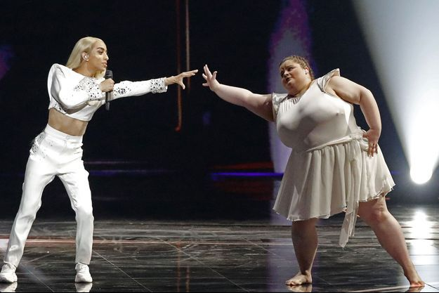 Bilal Hassani lors de la finale de l'Eurovision samedi.