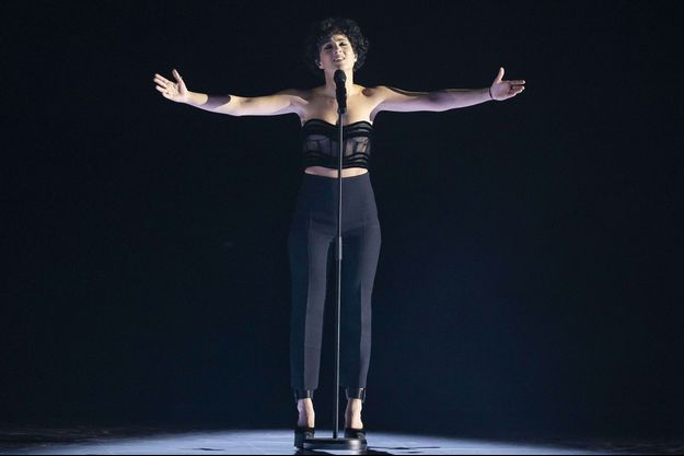 Barbara Pravi lors de la finale de l'Eurovision 2021.