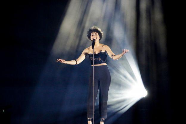 Barbara Pravi lors d'une répétition sur la scène de l'Eurovision, à Rotterdam, le 13 mai.