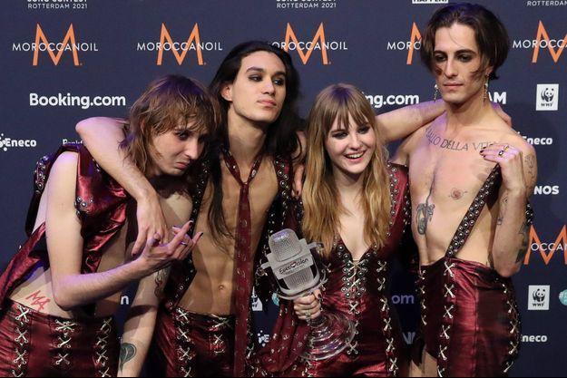 Les Måneskin après leur victoire à l'Eurovision.