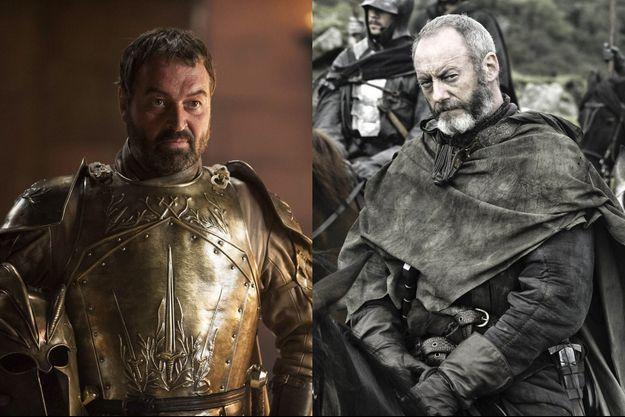 """Ian Beattie et Liam Cunningham, alias Meryn Trant et Ser Davos dans """"Game of Thrones""""."""