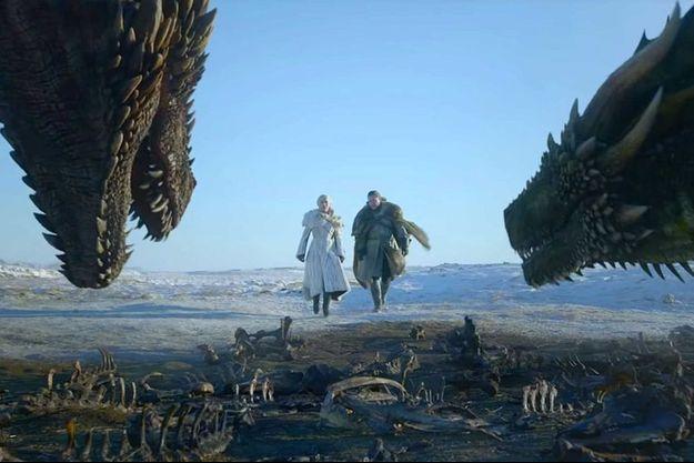 """Daenerys Targaryen et Jon Snow dans la série """"Game of Thrones""""."""