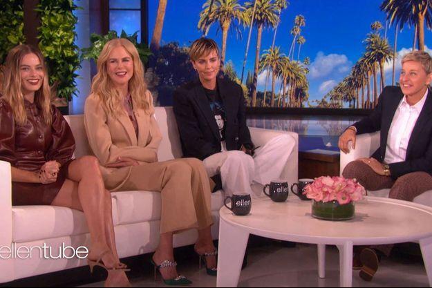 Ellen DeGeneres accueille Margot Robbie, Nicole Kidman et Charlize Theron sur son plateau en 2019.