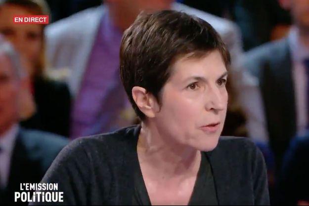 Christine Angot sur le plateau de L'Emission politique jeudi soir