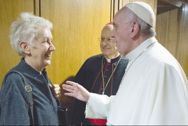 Le pape François avec Mme Scaraffia.