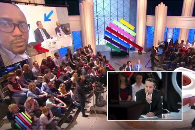 """Sur le plateau de Quotidien le 3 mai 2017, émission animée par Yann Barthès (à droite) et """"Ceci n'est pas moi"""", précise Andrea Ngombet (qui n'est donc pas à gauche)"""