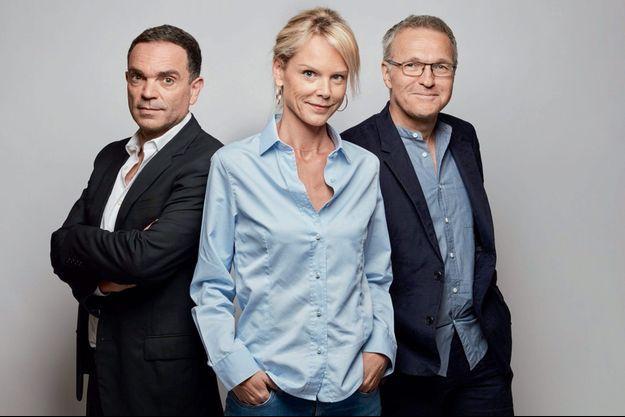 Yann Moix, Vanessa Burggraf et leur patron, Laurent Ruquier.