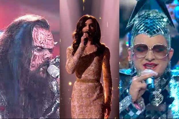 L'Eurovision a vu beaucoup de candidats insolites sur sa scène. Ici Lordi, Conchita Wurst et Verka Serduchka.