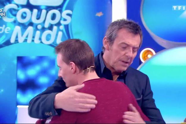 """Jean-Luc Reichmann et Adrien sur le plateau des """"12 coups de midi"""" samedi."""