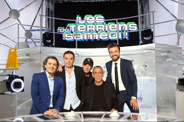 Alex Vizorek, Yann Moix, Laurent Baffie, Thierry Ardisson et Tom Villa.