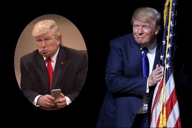 Donald Trump et son imitation par Alec Baldwin dans Saturday Night Live (en médaillon)