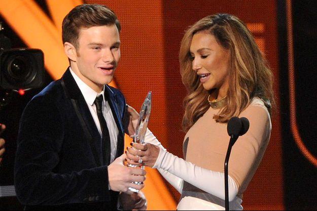 Chris Colfer et Naya Rivera aux People's Choice Awards en 2014.