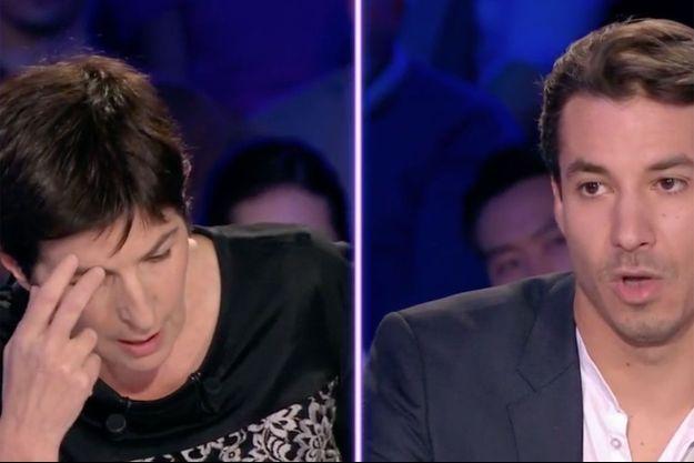 """Christine Angot et Jérémy Ferrari sur le plateau d'""""On n'est pas couché""""."""