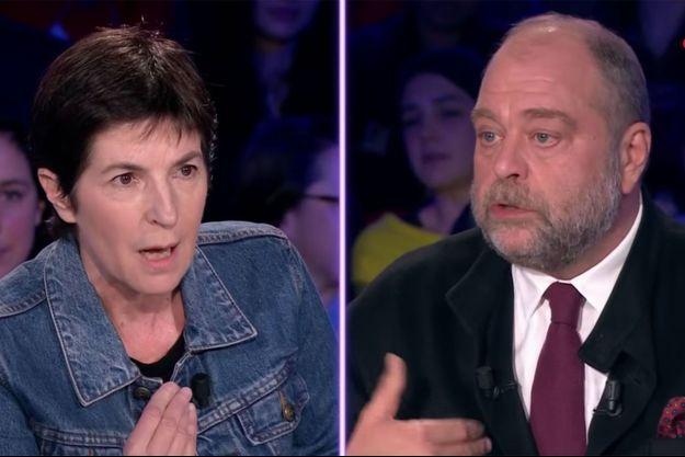 """Christine Angot et Eric Dupond-Moretti sur le plateau de """"ONPC"""" samedi."""
