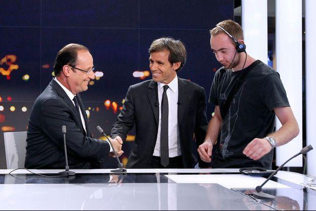 François Hollande et David Pujadas sur France 2.