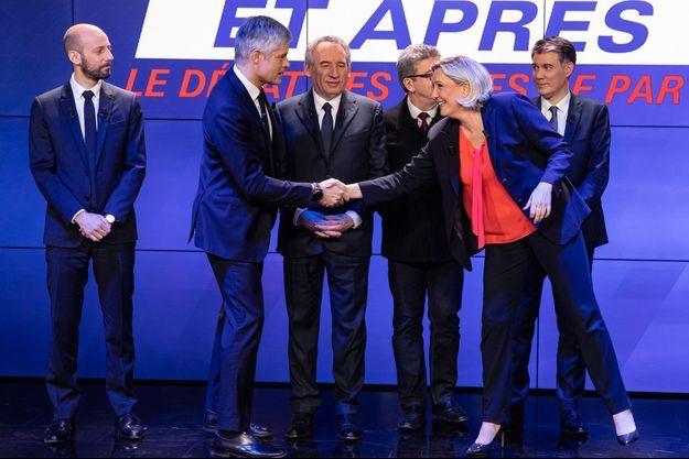 """Les six chefs de partis lors de la soirée-débat de BFMTV """"La crise, et après?""""."""