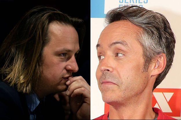 """Geoffroy Lejeune, directeur de la rédaction de """"Valeurs"""" et Yann Barthès, présentateur de """"Quotidien""""."""