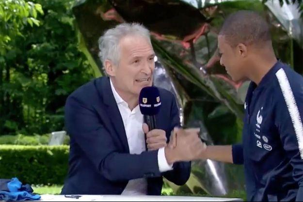 """Christian Jeanpierre et Kylian Mbappé à """"Téléfoot"""" dimanche."""
