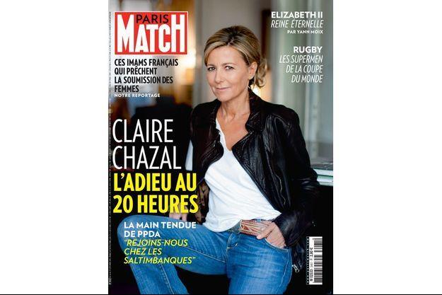 Claire Chazal en une de Paris Match, mardi 15 septembre.