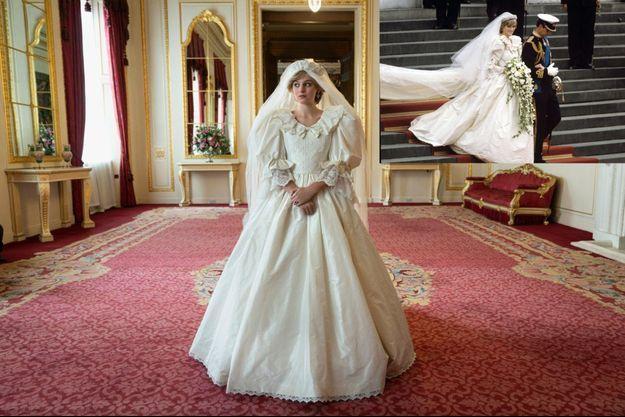 """Emma Corrin dans la saison 4 de """"The Crown"""". A droite, une image du mariage de Lady Diana Spencer et du prince Charles, en 1981."""