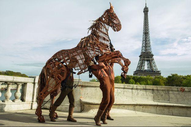 Manipulé par trois marionnettistes, le cheval Joey semble étonnamment vivant.