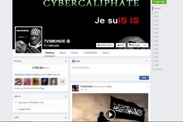 """Le message """"Je suis IS"""" est apparu sur le compte Facebook de TV5Monde durant quelques heures."""