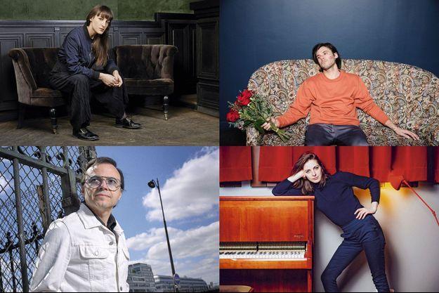 De haut en bas, de gauche à droite : Juliette Armanet, Bertrand Burgalat, Orelsan et Fishbach