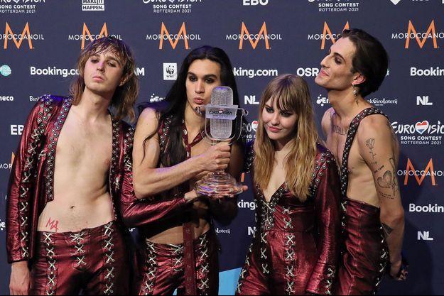 Le groupe Måneskin le soir de sa victoire à l'Eurovision.