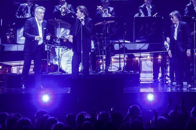 Johnny Hallyday, Eddy Mitchell et Jacques Dutronc samedi soir à Lille.