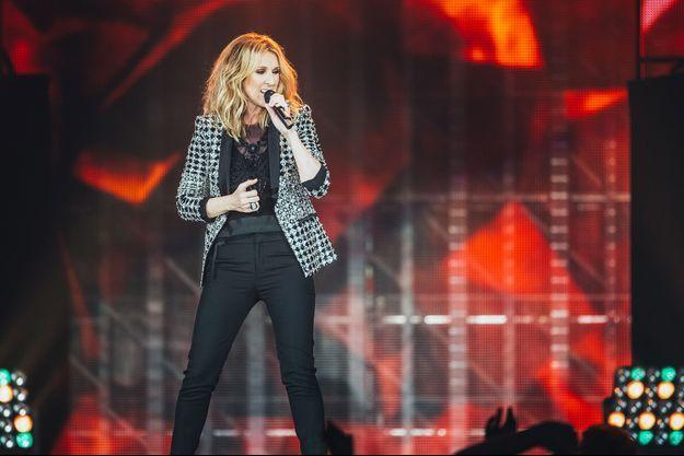 Céline Dion lors de son concert à l'AccorHotels Arena, à Paris, le 4 juillet.